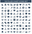 100 chart icons vector image vector image