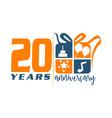 20 year gift box ribbon anniversary vector image vector image