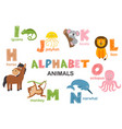 alphabet with animals h to o vector image vector image