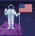 astronaut holding american flag in moon space