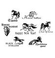 Black horses mascots vector image vector image
