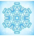 Blue abstract doodle floral circle pattern vector image vector image