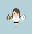 businesswoman has money bag and clock vector image