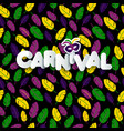 carnival mardi gras pattern with feathers vector image