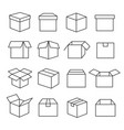 carton boxes icon set vector image vector image