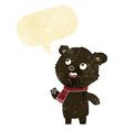 cartoon black bear wearing scarf with speech vector image vector image