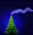 christmas tree lowpoly triangle with magical star vector image
