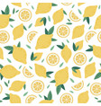 citrus seamless pattern lemon cartoon funny hand vector image