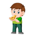 cute boy eating pizza vector image vector image
