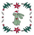 cute christmas card with a rabbit vector image