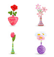 cute collection of modern vases with flowers for vector image vector image