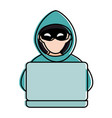 cyber thief avatar character with laptop vector image vector image