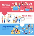 daily people horizontal banners set vector image vector image