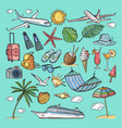 different hand drawn coloring summer icons set vector image vector image