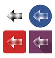 dotted icon left direction arrow in four vector image vector image