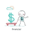 financier carries a wheelbarrow with a dollar sign vector image vector image