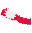 flag in map nepal vector image vector image