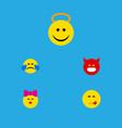 flat icon emoji set of pouting delicious food vector image vector image