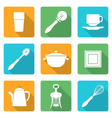 flat style white design dinnerware icons set vector image vector image