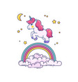 flat with cute unicorn and rainbow vector image vector image