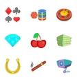 Gambling icons set cartoon style vector image
