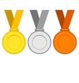 Gold silver and bronze medals for the winners of vector image vector image