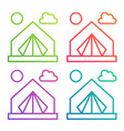 gradient color line icon tent camping logo vector image