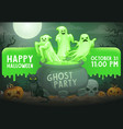 halloween ghosts pumpkins skull cat on cemetery vector image vector image