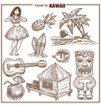 hawaii travel famous symbols sketch vector image vector image