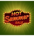 Hot summer sale 3d retro banner with shining bulb vector image