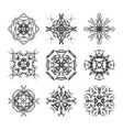ink hand drawn ornamental design snowflakes vector image vector image