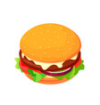 isometric cheeseburger with tomato vector image