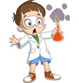 kid makes science experiment vector image vector image