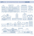 line set buburb homes and shops vector image