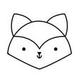 little fox head animal cartoon icon thick line vector image vector image