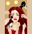 many hands applying makeup on a woman head vector image