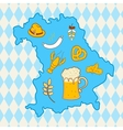 Map of Bavaria with oktoberfest symbols vector image vector image