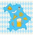 Map of Bavaria with oktoberfest symbols vector image