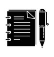 note book with pen vector image vector image