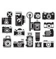 pictures set of retro cameras monochrome vector image