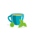 porcelain cup tea with leaves vector image
