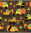 seamless pattern with work trucks vector image
