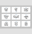 set of 9 hand lettering posters about february 10 vector image vector image