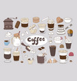 set of hand drawn different types of coffee on vector image vector image