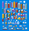 set of houses and objects vector image vector image