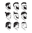 set silhouette bearded men faces hipsters style vector image