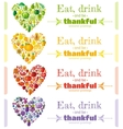 Thanksgiving food banner set with heart icons vector image vector image