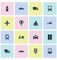 transport icons set collection of aircraft van vector image