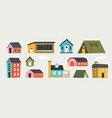 trendy houses cartoon tiny buildings with hand vector image vector image