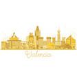 valencia spain city skyline silhouette vector image vector image